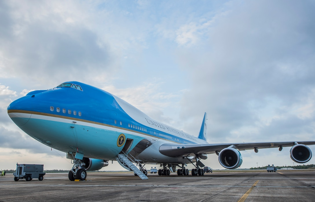 """A Boeing 747 VC-25A sits on the flightline April 19, 2017 at Eglin Air Force Base, Fla. The aircraft is one of two VC-25As assigned to the Presidential Airlift Group, 89th Airlift Wing at Joint Base Andrews, Maryland. The VC-25A is commonly known as """"Air Force One,"""" although that radio call sign is reserved and used exclusively when the President of the U.S. is aboard any U.S. Air Force aircraft. This aircraft was completing a maintenance cycle and undergoing an operational test regimen before being certified to return to Presidential service. (U.S. Air Force photos/Ilka Cole)"""
