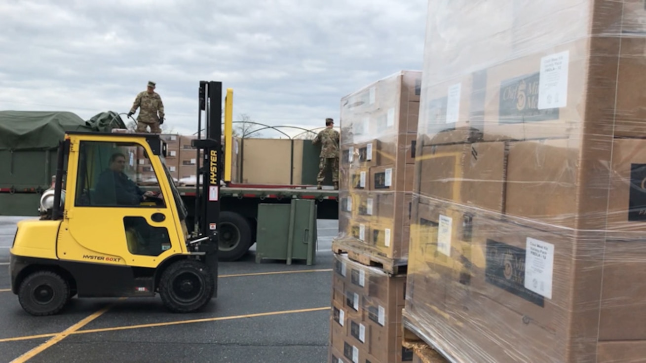 Soldiers from the Pennsylvania National Guard's 213th Regional Support Group work with Pennsylvania Department of Human Services to transport food to distribution centers across the Commonwealth. As of April 15, 2020, the Pennsylvania National Guard has delivered 225,228 meals and travelled over 12,100 miles.