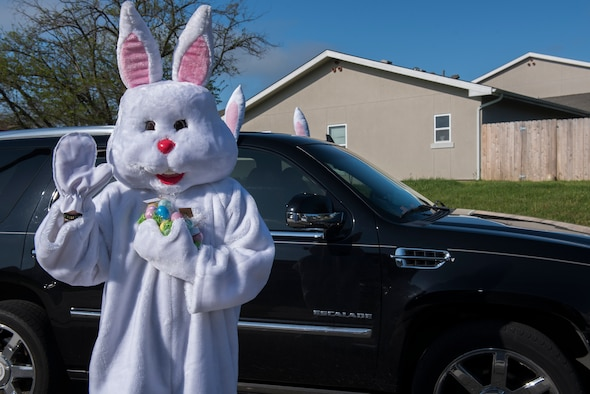The Easter Bunny prepares to give candy to children from military families with deployed parents April 11, 2020, at Travis Air Force Base, California. The Easter Bunny hand delivered 163 bags of candy to the children's homes. (U.S. Air Force photo by Airman 1st Class Cameron Otte)