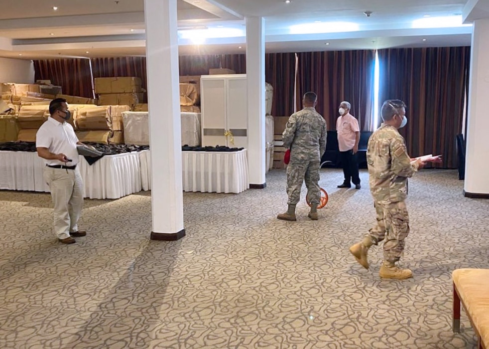 Engineering assessment teams from Naval Facilities Engineering Command (NAVFAC) Marianas and the Guam Air National Guard conduct a walkthrough of a hotel located in Tumon April 13 as part of the Hotel to Healthcare conversion program in support of the U.S. Army Corps of Engineers, and in coordination with the government of Guam.