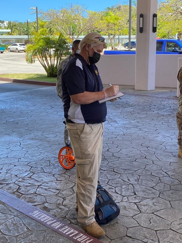 Engineering assessment teams from Naval Facilities Engineering Command (NAVFAC) Marianas and the Guam Air National Guard conduct a walkthrough of a hotel located in Tumon as part of the Hotel to Healthcare conversion program in support of the U.S. Army Corps of Engineers, and in coordination with the government of Guam.