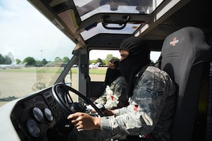Airman 1st Class Khalil Jeter (foreground), 14th Civil Engineer Squadron firefighter, and Tech Sgt. Michael Mucha, 14th Civil Engineer Squadron station captain, operate a Striker 1500 April 10, 2020, on Columbus Air Force Base, Miss. The 14th CES firefighters respond to aircraft and facility emergencies within minutes and have the ability to control, contain and stop numerous types of emergencies from escalation. (U.S. Air Force photo by Airman 1st Class Jake Jacobsen)