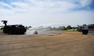A Striker 1500 shoots out water during a training exercise April 10, 2020, on Columbus Air Force Base, Miss. Training is a key departmental function that ensures the ability to provide effective emergency response for Columbus AFB Fire and Emergency Services. (U.S. Air Force photo by Airman 1st Class Jake Jacobsen)