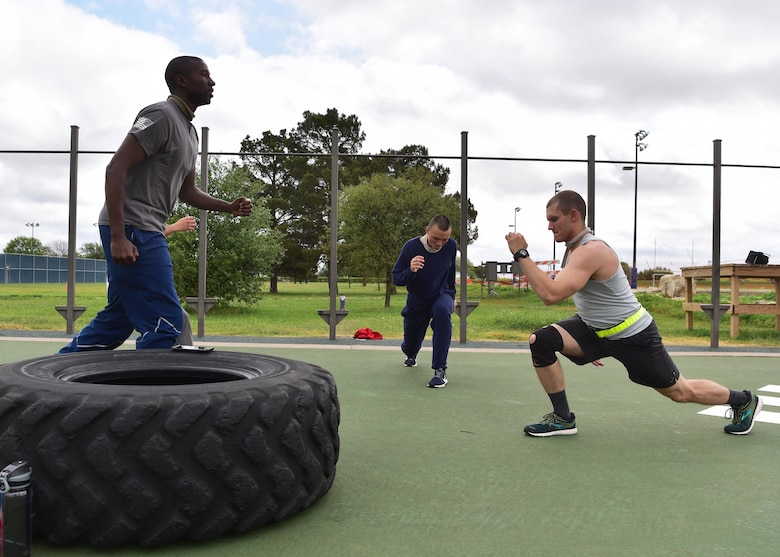 Members of Goodfellow Air Force Base compete in the physical training portion of the 'Break the Pandemic' Morale event here April 11, 2020. The 315th Training Squadron hosted the event to give base residents an opportunity to partake in friendly competition while observing social distancing regulations in response to the COVID-19 pandemic. (U.S. Air Force photo by Staff Sgt. Chad Warren)