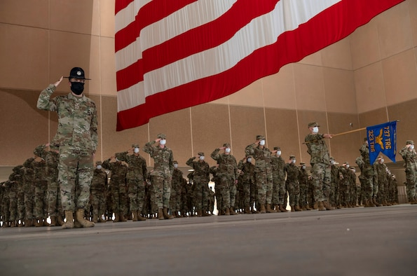 U.S. Air Force basic military graduation is held Apr. 9, 2020, at the 321st Training Squadron's Airman Training Complex on Joint Base San Antonio-Lackland, Texas.