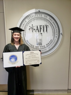 Taylor Flaxington earned her master's degree from the Air Force Institute of Technology's Graduate School of Engineering Management in March 2020 and was the first AFIT student to have an all-female thesis team. (Courtesy Photo)