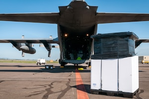 Palletized cargo pictured with aircraft.
