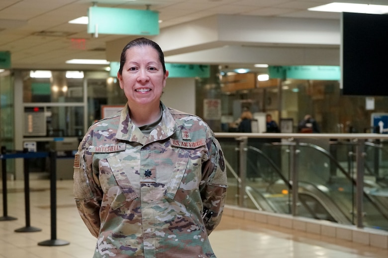 Lt. Col. Esther Mitchell, 507th Medical Squadron chief nurse at Tinker Air Force Base, Oklahoma, prepares to deploy to help the fight against COVID-19 April 13, 2020, at Will Rogers World Airport in Oklahoma City. The deployment is part of a larger mobilization package of more than 120 doctors, nurses and respiratory technicians Air Force Reserve units across the nation provided within 48 hours in support of COVID-19 response to take care of Americans. (U.S. Air Force photo by Senior Airman Mary Begy)