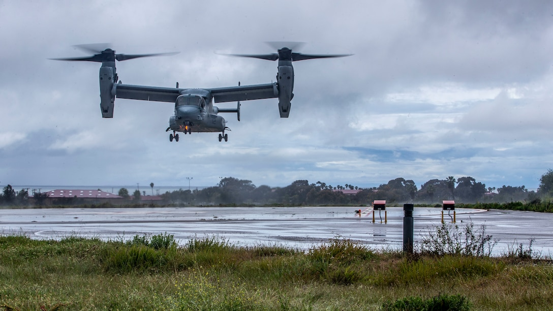 A U.S. Marine MV-22B Osprey prepares to land at the helicopter landing zone at Naval Hospital Camp Pendleton during a patient transportation rehearsal of concept on Marine Corps Base Camp Pendleton, Calif., April 10.