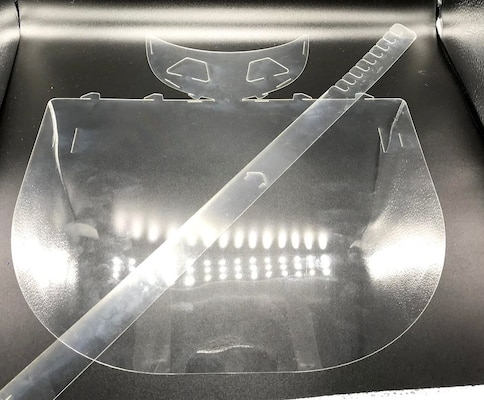 Clear, plastic-looking face shield