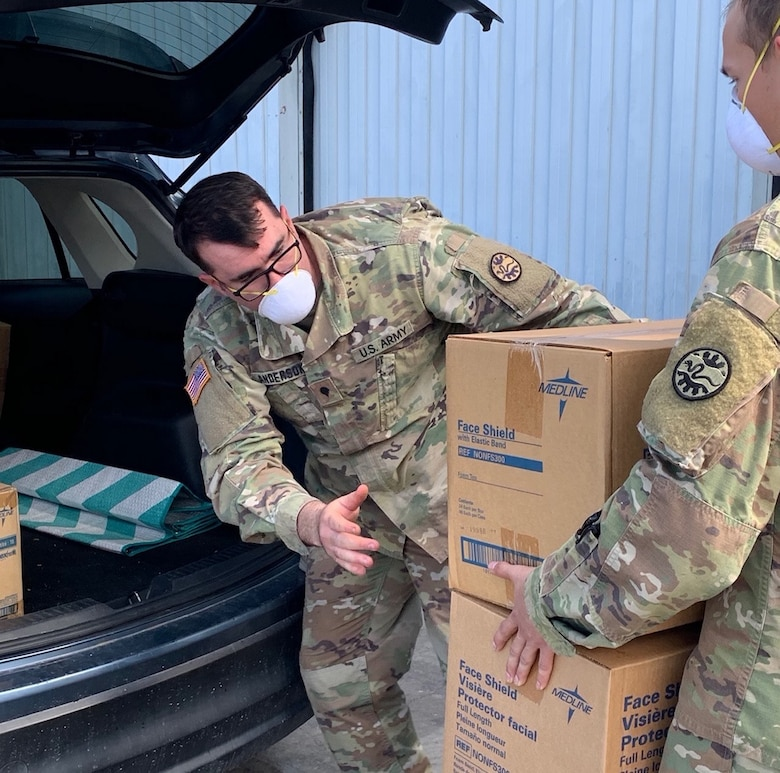 Soldiers of the Nevada Army National Guard receive medical supplies at a warehouse east of Sparks, Nevada, as part of the COVID-19 pandemic response in the Silver State. About 700 additional Nevada National Guard Soldiers and Airmen will enter the fight against COVID-19 this week, bringing the total to 800, the largest state activation in Nevada National Guard history.