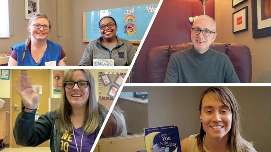 Staff reading books on video