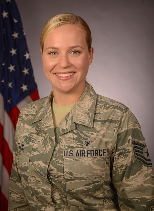 U.S. Air Force Tech. Sgt. Lauren Trail, a Georgia Air National Guard recruiter, poses for an official photo at Robins Air Force Base, Georgia, July 18, 2019. (U.S. Air National Guard photo by Tech. Sgt. Nancy Goldberger)