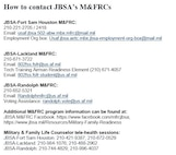 Contact information for JBSA Military Family Readiness Centers