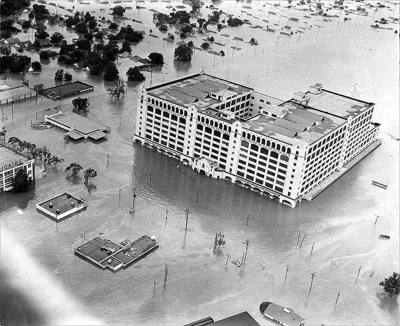 Aerial Photo of 1949 flood in Fort Worth