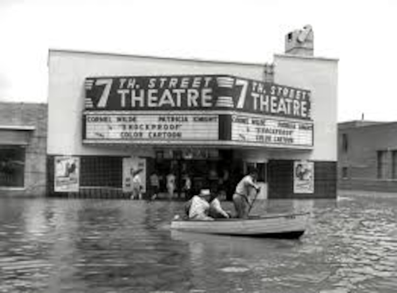 Photo showing 1949 flood water height in front of the old 7th Street Theater in Fort Worth, Texas