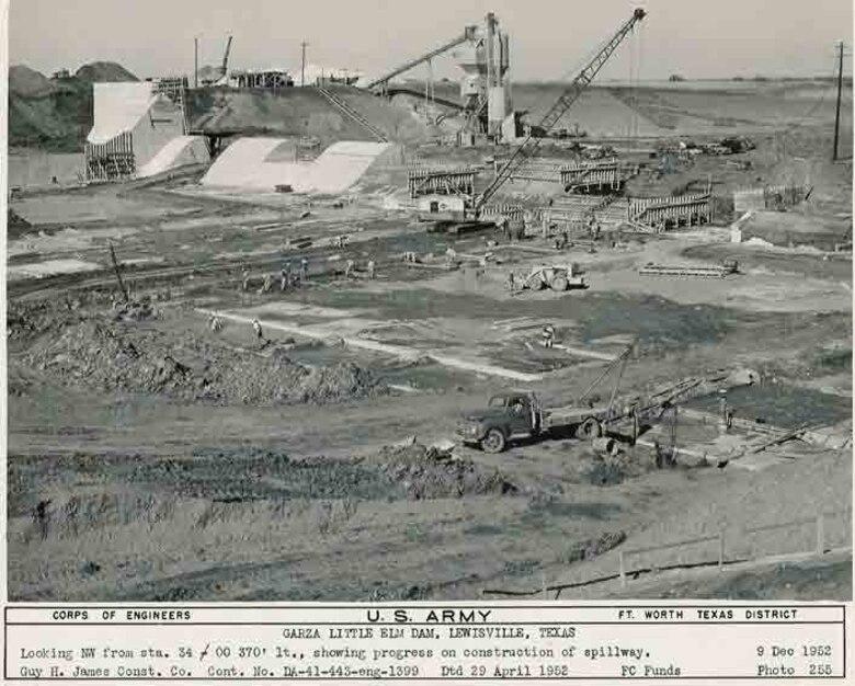 Photo of Garza Little Elm Dam Spillway construction in Lewisville, Texas Dec. 9, 1952