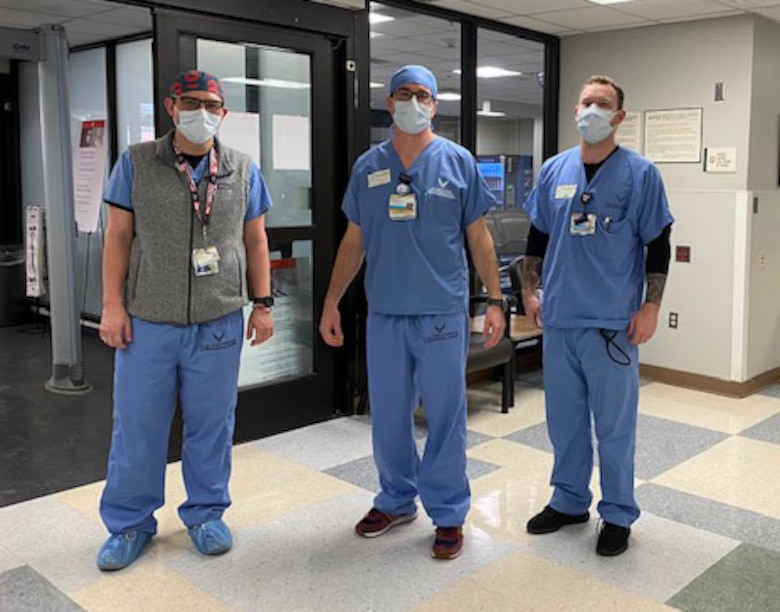 Healthcare workers at the Vanderbilt University Medical Center in Nashville, Tennessee, wearing scrubs that were donated two weeks ago by Air Force Recruiting Service recruiters.