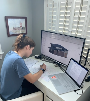 Sally Sydnor, a graduating senior at Handley High School in Winchester, Va., works on her U.S. Army Corps of Engineers Internship project from her home in Winchester. Sydnor has been collaborating remotely with mentors from USACE's Transatlantic Middle East District to complete the project due to the COVID-19 pandemic.