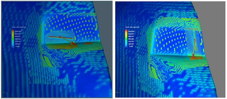 Computational fluid dynamics (CFD) analysis, conducted by Air Force Research Laboratory (AFRL) and Southwest Research Institute, shows the nose of a KC-135 Stratotanker, as the wiper blades are positioned horizontally (left) and vertically (right). The red indicates an area of high aerodynamic drag.