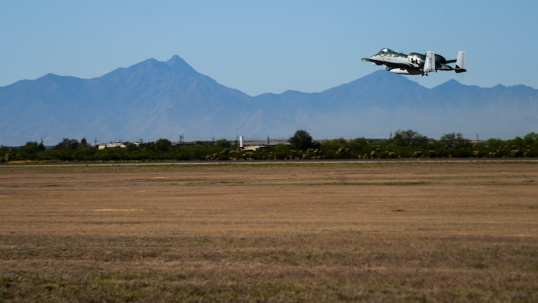 A photo of an A-10 taking off