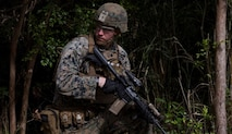 A U.S. Marine with 4th Marine Regiment, 3rd Marine Division participates in the Advanced Infantry Marine Course on Camp Schwab, Okinawa, Japan, April 1, 2020. 3rd Marine Division conducts mission essential training to remain ready to respond to any crisis situation throughout the Indo-Pacific region.