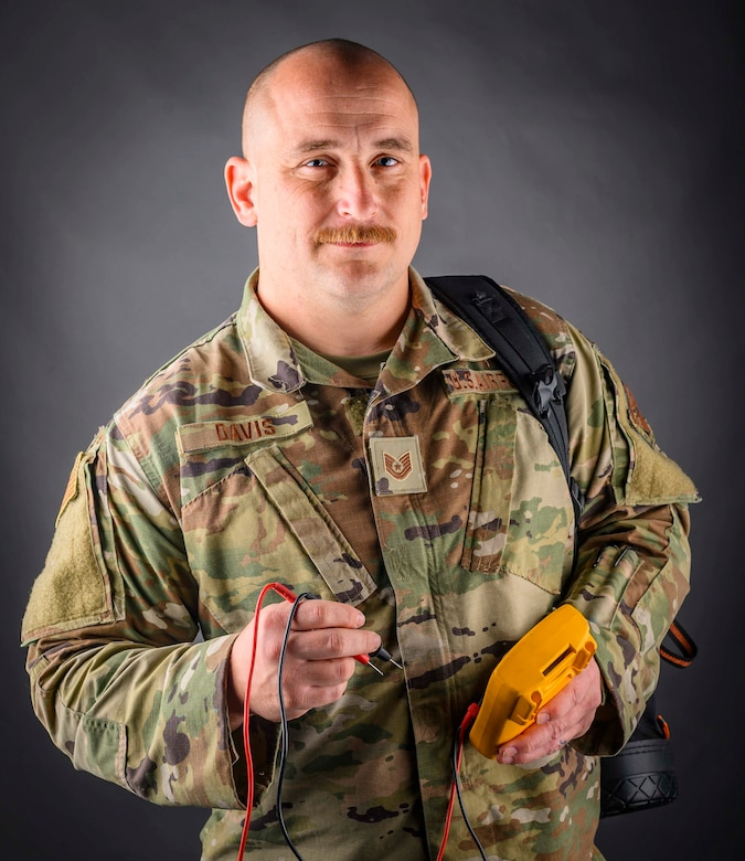 Portrait of Tech. Sgt. Ronald Davis, a Power Production Technician, assigned to the 130th Civil Engineering Squadron. (U.S. Air National Guard photo by Master Sgt. De-Juan Haley)
