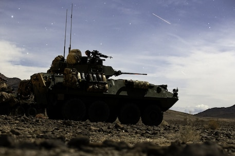 U.S. Marines with 1st, 3rd and 4th Light Armored Reconnaissance (LAR) Battalions participate in the Bushmaster Challenge at Marine Corps Air Ground Combat Center Twentynine Palms, California, March 23, 2019.