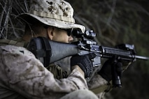 U.S. Marine Corps Lance Cpl. Cody Parr, a Low Altitude Air Defense Gunner with Bravo Company, 1st Light Armored Reconnaissance Battalion, 1st Marine Division, provides security during Steel Knight 2020 (SK20) at an undisclosed location, Dec. 9, 2019.