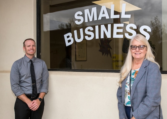 Cynthia Randall and Matthew Chartier from Air Force Test Center Small Business Office at Edwards Air Force Base, California, stand ready to help small businesses establish connections with the Test enterprise. (Air Force photo by Giancarlo Casem)