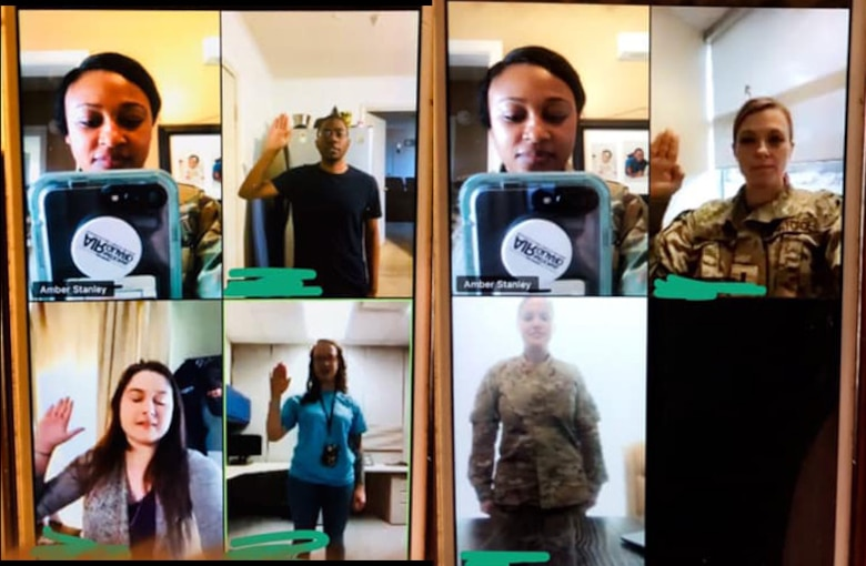 U.S. Air Force Tech. Sgts. Lauren Trail and Amber Stanley, recruiters with the Georgia Air National Guard, use video chat to conduct enlistments March 19, 2020. The recruiters turned to virtual, encrypted platforms to handle paperwork and video chats for in-person meetings to work from home during the COVID-19 shelter-in-place order from the governor. (U.S. Air National Guard photographic by Master Sgt. Nancy Goldberger)