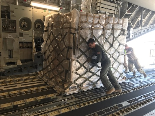 The 167th Airlift Wing transported just over one million COVID-19 test kits from Aviano Air Base, Italy to Memphis, Tenn., April 16, 2020. The test kits, which are maunufactured in Italy, will be distributed throughout the nation from the Fed Ex hub in Tennessee. Eighteen pallets filled the cargo compartment of the C-17 Globemaster III aircraft, crewed by seven 167th AW Airmen.
