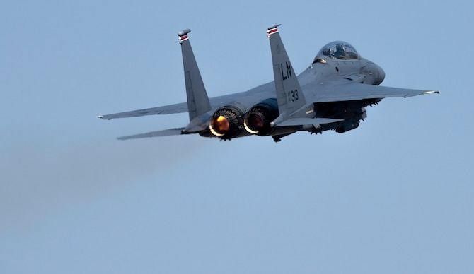 An F-15E Strike Eagle assigned to the 494th Fighter Squadron takes off at Royal Air Force Lakenheath, England, April 16, 2020. Despite the current COVID-19 crisis, the 48th Fighter Wing continues to maintain mission-readiness in order to safeguard U.S. national interests and those of our allies and partners. (U.S. Air Force photo by Airman 1st Class Jessi Monte)