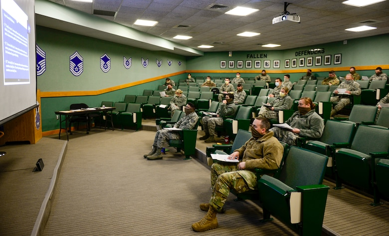Airmen with the 157th Security Forces Squadron train remotely with the N.H. police academy by videoconference on basic law enforcement topics at Pease Air national Guard Base.