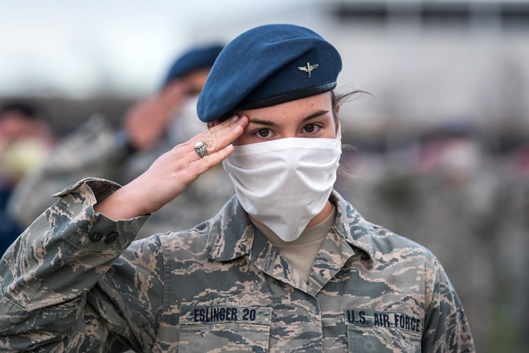 In a ceremony combining established, solemn ritual with new, medically necessary protocols, 967 U.S. Air Force Academy cadets will graduate April 18, launching careers in the Air and Space Forces as second lieutenants. (U.S. Air Force photo by Trevor Cokley)