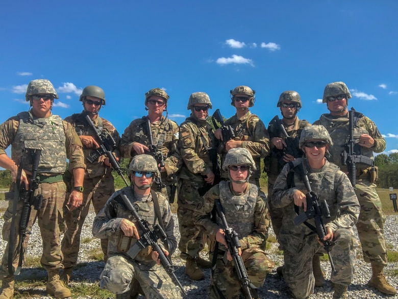 Members of the 123rd Airlift Wing competed in the first-annual Marksmanship Team Training and Competition event at Fort Knox, Ky., Oct. 16, 2019. Pictured in the back row, from left to right: Senior Airman Sam Wurzelbacher, Tech. Sgt. Abe Hilbers, Tech. Sgt. Jacob Faith, Senior Master Sgt. Darryl Loafman, Airman 1st Class Austin Goldman, Staff Sgt. David Farc and Lt. Col. Kevin Krauss. Pictured in the front row, from left to right: Airman 1st Class Matt Dunlap, Airman Karl Kutter and Airman 1st Class Nate Davis. (Courtesy Photo)
