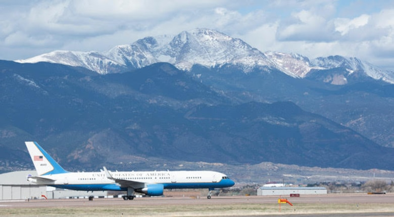 "PETERSON AIR FORCE BASE, Colo. – Air Force One carrying Vice President Mike Pence along with the Secretary of the Air Force Barbara Barrett, taxis on Peterson Air Force Base, Colorado on April 18, 2020. Colorado Governor Jared Polis, General John ""Jay"" Raymond, U.S. Space Force Chief of Space Operations and commander of U.S. Space Command, and General Terrence O'Shaughnessy, commander of U.S. Northern Command and Northern American Aerospace Defense Command, and Col. Thomas Falzarano, 21st Space Wing commander, wait for the vice president to exit the plane before he heads to the 50th Air Force Academy Graduation. Pence came to Colorado Springs to speak at the graduation which included 86 cadets from the U.S. Air Force Academy to commission directly into the U.S. Space Force, becoming the very first company grade officers in the new service. (U.S. Air Force photo by Staff Sgt. Alexandra M. Longfellow)"