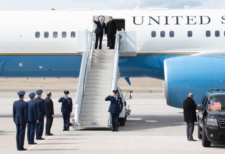 PETERSON AIR FORCE BASE, Colo. – Vice President Mike Pence along with the Secretary of the Air Force Barbara Barrett, wave to onlookers as he exits Air Force One on Peterson Air Force Base, Colorado, April 18, 2020. The vice president came to Colorado Springs to speak at the U.S. Air Force Academy graduation which included 86 cadets from USAFA to commission directly into the U.S. Space Force, becoming the very first company grade officers in the new service. (U.S. Air Force photo by Staff Sgt. Alexandra M. Longfellow)
