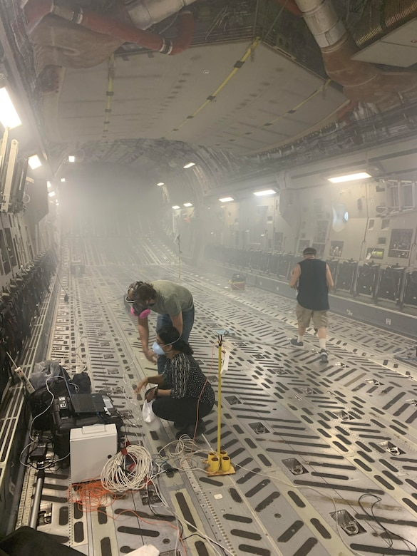 A team from the Air Force Life Cycle Management Center's C-17 Program Office, 28th Test and Evaluation Squadron, and 437th Airlift Wing, conducted several interior airflow tests on a C-17 at Joint Base Charleston, S.C. March 26-30. The tests were designed to collect data and gather information to characterize the C-17's airflow and ventilation patterns. (Courtesy photo)