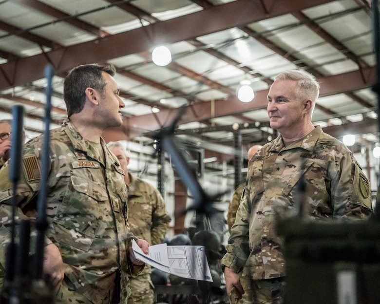 Brig. Gen. Haldane Lamberton (right), Kentucky's newly appointed adjutant general, learns about the capabilities of the 123rd Special Tactics Squadron from Maj. Aaron Zamora, commander of the 123rd Special Tactics Squadron, during a tour of the Kentucky Air National Guard Base in Louisville, Ky., on Jan. 28, 2020. Lamberton visited various work centers, learning about the unique mission sets of the 123rd Airlift Wing. (U.S. Air National Guard photo by Staff Sgt. Joshua Horton)