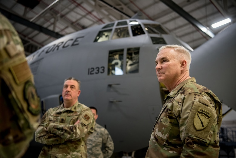 Brig. Gen. Haldane Lamberton (right), Kentucky's newly appointed adjutant general, tours the Kentucky Air National Guard Base in Louisville, Ky., on Jan. 28, 2020. Lamberton visited various work centers, learning about the unique mission sets of the 123rd Airlift Wing. (U.S. Air National Guard photo by Staff Sgt. Joshua Horton)