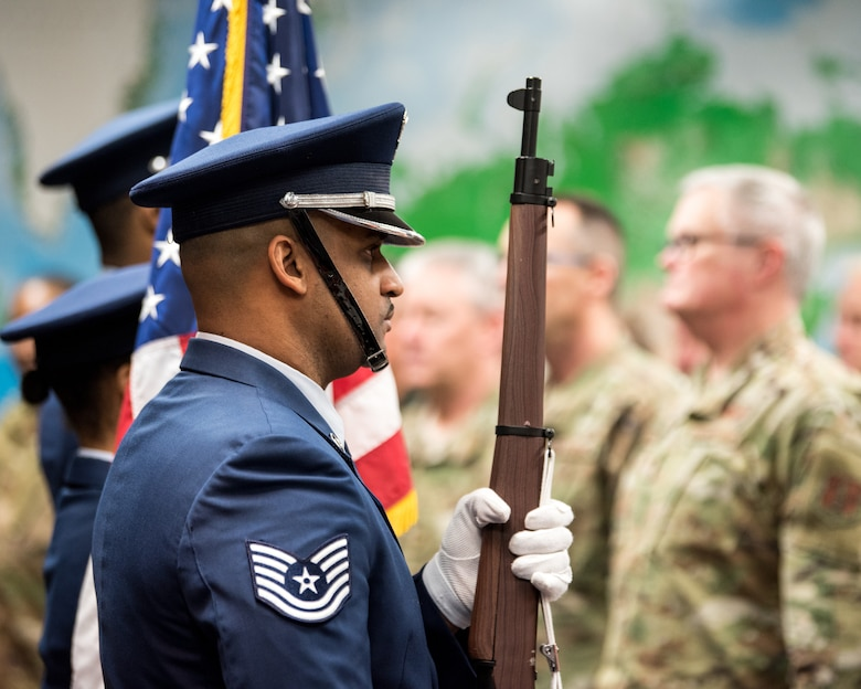 The 123rd Airlift Wing Color Guard presents the colors during a retirement ceremony for Chief Master Sgt. Jeffrey Brown at the Kentucky Air National Guard Base in Louisville, Ky., Dec. 7, 2019. (U.S. Air National Guard photo by Senior Airman Chloe Ochs)