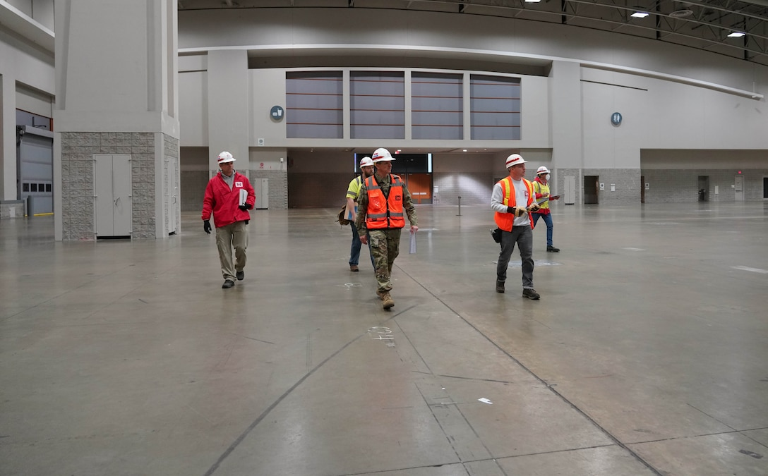 The U.S. Army Corps of Engineers and partners inspect the Walter E. Washington Convention Center in Washington DC, to be used as an alternate care facility in response to potential COVID-19 medical surge capacity needs, March 25, 2020. (U.S. Army photo by David Gray)