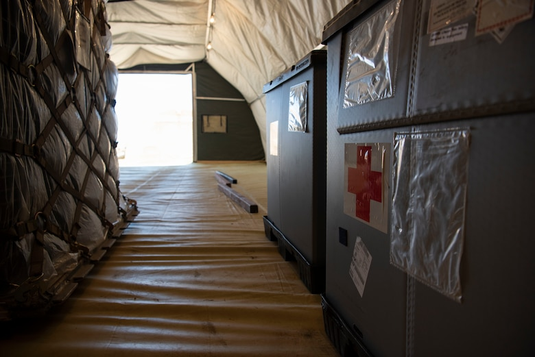 Medical supplies are stored in the new temporary warehouses at the Expeditionary Medical Support System facility April 14, 2020, at U.S. Naval Hospital Guam.