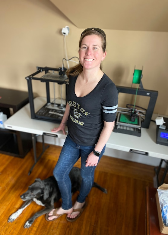 More than 50 members of the 104th Fighter Wing have been activated and are working within their career fields to assist with the COVID-19 response efforts within the Commonwealth.  Although Staff Sgt. Whitney Greaney has not been activated, she decided to help her community with her personal 3D printer.  Greaney is printing mask extenders on her 3D printer at home and donating them to those who need them most.  (Courtesy photo)