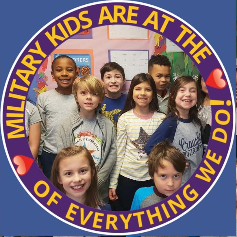 Graphic displaying children celebrating Purple Up Day