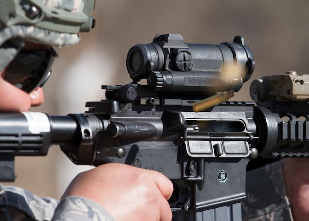 Members of the 151st Security Forces Squadron conduct M4 rifle and M9 pistol training at Camp Williams, Utah on April 24, 2019.