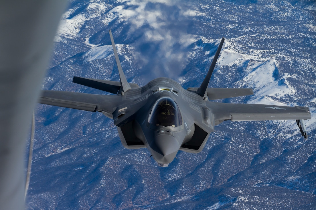 An F-35 Lightning II, assigned to Hill Air Force Bases 388th Fighter Wing and 419th Fighter Wing, approaches a KC-135R Stratotanker, assigned to the Utah Air National Guard's 151st Air Refueling Wing during an exercise on January 6, 2020.