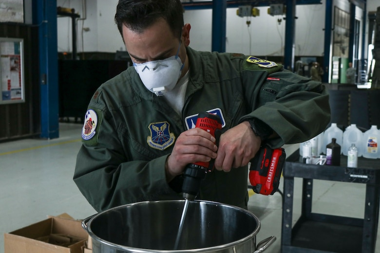 Dyess Airmen create hand sanitizer