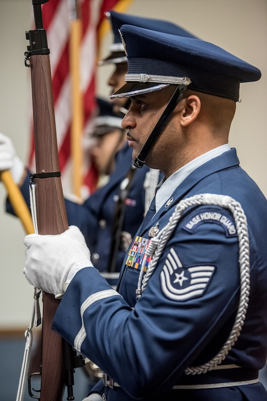 The 123rd Airlift Wing Color Guard presents the colors during the retirement ceremony of Chief Master Sgt. Aaron May, the outgoing chief enlisted manager for the 123rd Special Tactics Squadron, at the Kentucky Air National Guard Base in Louisville, Ky., on Dec 7, 2019. May is retiring after more than 26 years of service to the Kentucky Air National Guard and U.S. Air Force. (U.S. Air National Guard photo by Staff Sgt. Joshua Horton)
